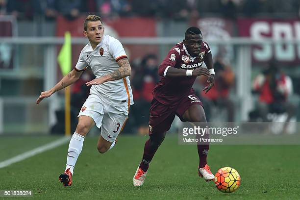Afriyie Acquah of Torino FC in action against Lucas Digne of AS Roma during the Serie A match between Torino FC and AS Roma at Stadio Olimpico di...