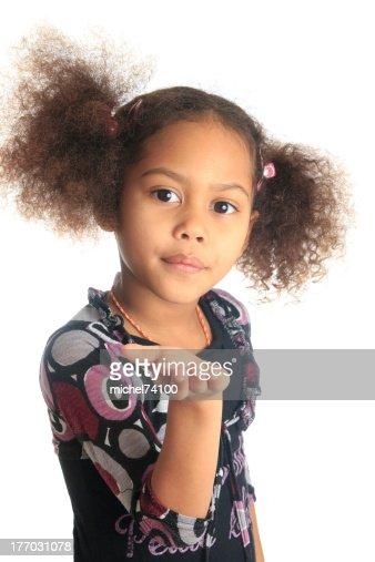 Belle Fille Metisse afroaméricaine belle fille noire cheveux bouclés isolé de femmes