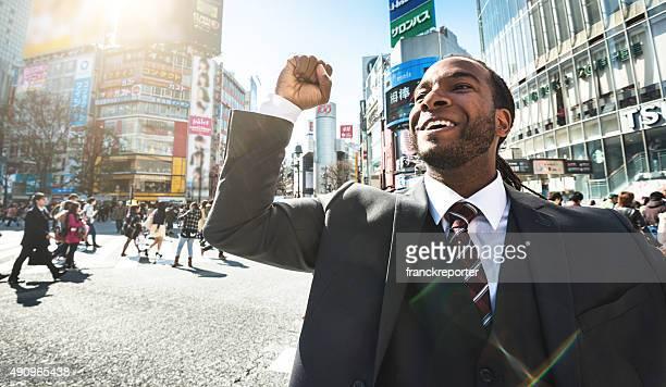 Afro-americano Business felicità di Shibuya, Tokyo