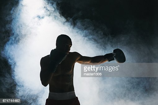 Afro american male boxer : Stock Photo