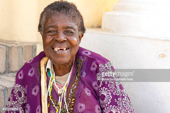 Caribbean People: Afro Caribbean Senior Woman Portrait. Real Cuban People In