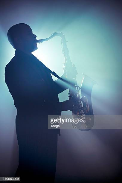 Afro-American musician with hazy backlight