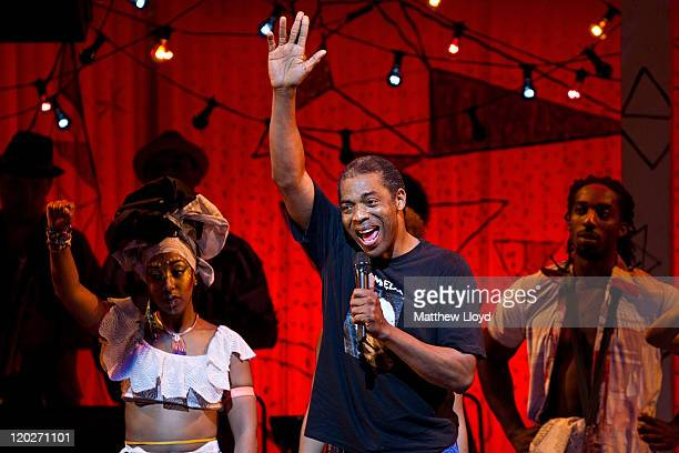 Afrobeat star Femi Kuti the eldest son of legendary Nigerian artist Fela Kuti appears in a curtain call alongside the cast of the musical Fela on...