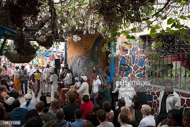 Afro-Cuban musicians performing at Sunday afternoon rumba at Callejon de Hamel.