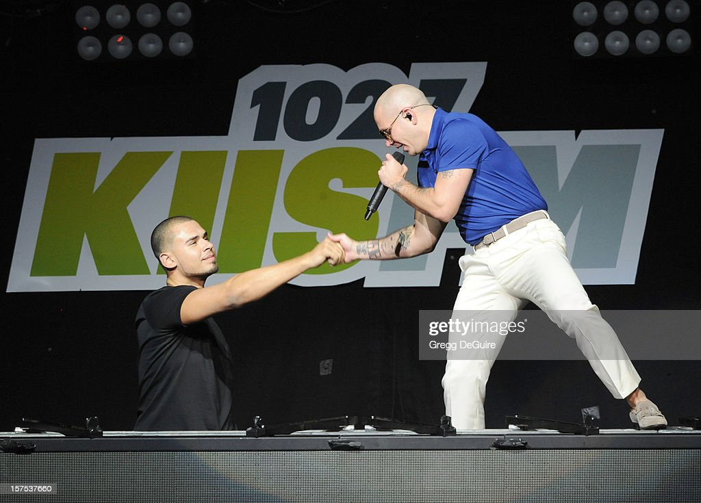 DJ <a gi-track='captionPersonalityLinkClicked' href=/galleries/search?phrase=Afrojack&family=editorial&specificpeople=7173108 ng-click='$event.stopPropagation()'>Afrojack</a> and singer Pitbull perform at KIIS FM's Jingle Ball 2012 night 2 at Nokia Theatre LA Live on December 3, 2012 in Los Angeles, California.