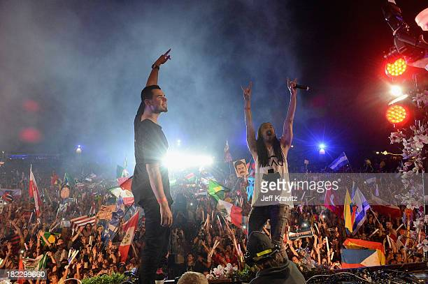 Afroki spin onstage at TomorrowWorld Electronic Music Festival on September 28 2013 in Chattahoochee Hills Georgia