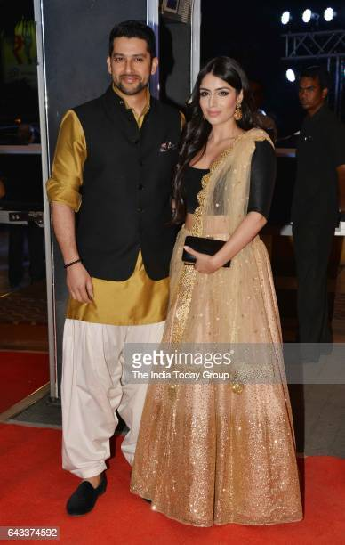 Aftab Shivdasani and Nin Dusanj during the wedding reception of actor Neil Nitin Mukesh in Mumbai