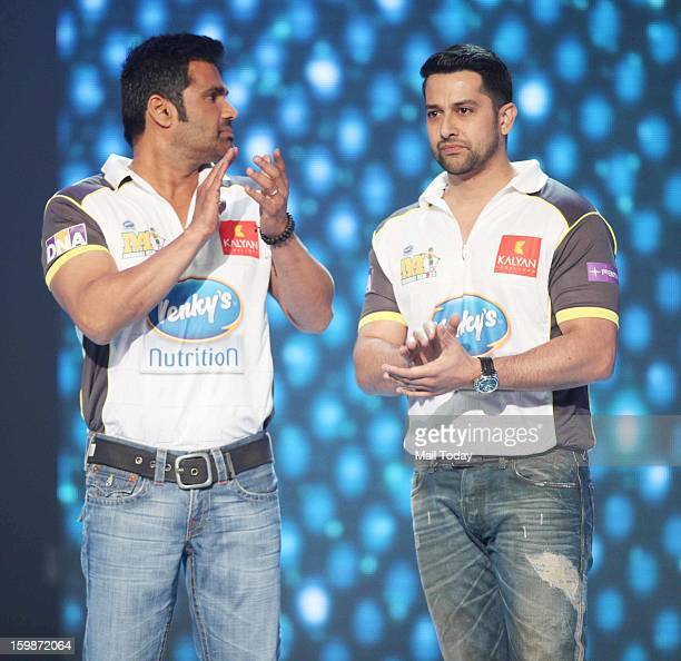 Aftab Shivdasani and Sunil Shetty during the third season of the Celebrity Cricket League curtain raiser event in Mumbai on January 20 2013