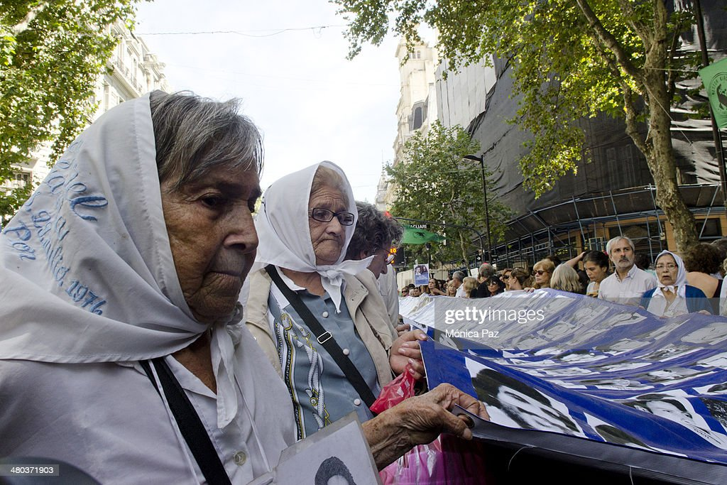 After 38 years of Argentina's last putsch and celebrating 30 years of democratic government members of Madres de Plaza de Mayo Abuelas de Plaza de...
