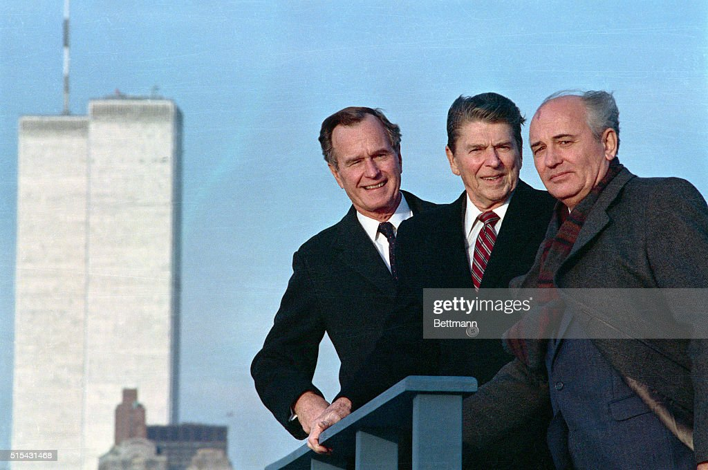 After a meeting in New York, President <a gi-track='captionPersonalityLinkClicked' href=/galleries/search?phrase=Ronald+Reagan+-+US+President&family=editorial&specificpeople=69998 ng-click='$event.stopPropagation()'>Ronald Reagan</a>, Vice President George Herbert Walker Bush and Soviet General Secretary <a gi-track='captionPersonalityLinkClicked' href=/galleries/search?phrase=Mikhail+Gorbachev&family=editorial&specificpeople=93773 ng-click='$event.stopPropagation()'>Mikhail Gorbachev</a> pose with the World Trade Center in the background.