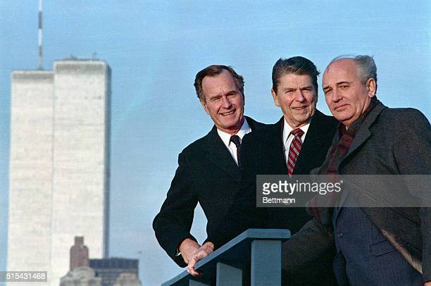 After a meeting in New York President Ronald Reagan Vice President George Herbert Walker Bush and Soviet General Secretary Mikhail Gorbachev pose...