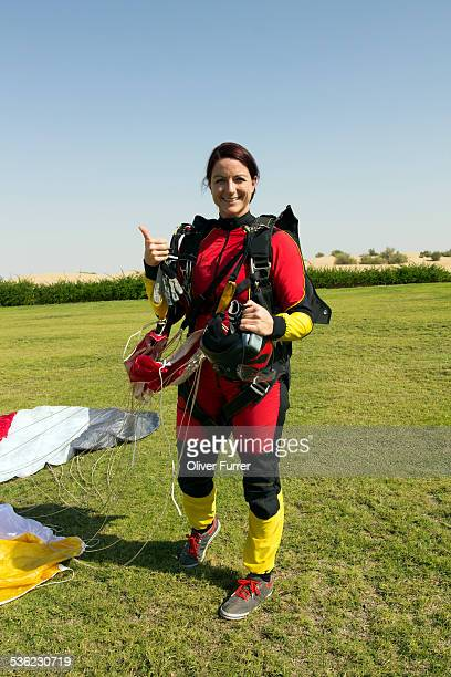 After a save landing the skydive girl smiling