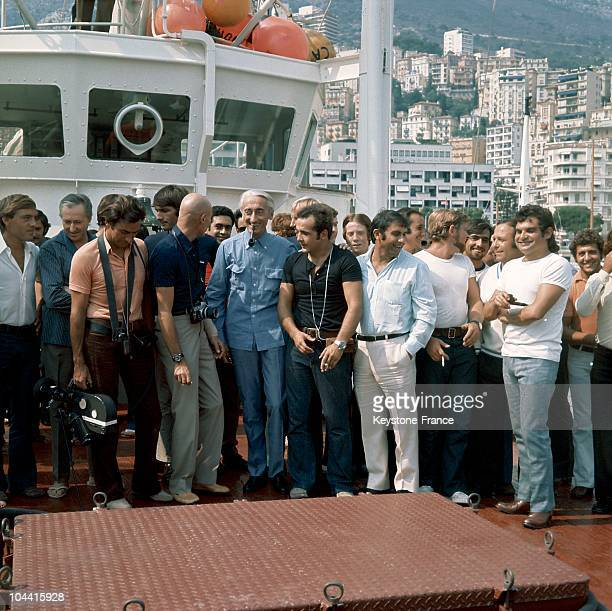 AFter a three and half mission aboard LA CALYPSO the research team surround their boss Jacques COUSTEAU once they have landed in the ports of Monaco