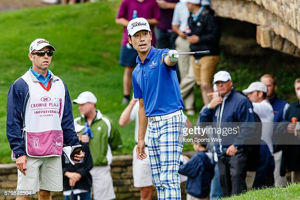 After a wayward tee shot on leader Kevin Na attempts to line up his approach shot during the second round of the Crowne Plaza Invitational at...