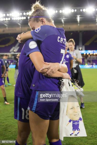After announcing her retirement Orlando Pride defender Maddy Evans embraces Orlando Pride defender Steph Catley after the NWSL soccer match between...