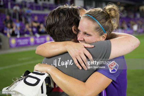 After announcing her retirement Orlando Pride defender Maddy Evans embraces her Mother after the NWSL soccer match between the Orlando Pride and Sky...
