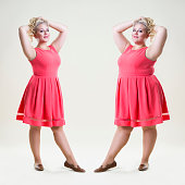 After before loss weight concept, happy plus size fashion model, sexy fat and slim woman on beige studio background, full length portrait