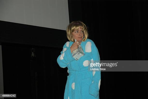 After calling in sick Rachel Dratch appears in a robe onstage at the Writers Guild East Awards on February 9 2008 in New York City New York