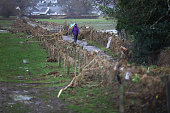 After flood waters have receded a woman walks amongst the debris caught by fencing on December 8 2015 in Keswick United Kingdom Engineers are working...