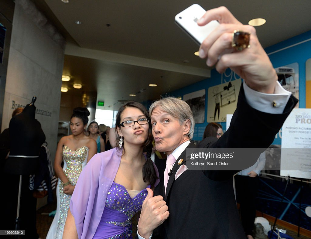After getting some fashion advice, Monsi Vazquez, 17, grabs a selfie with Monte Durham. TLC joins with The Cable Center in Denver to honor a group of girls from Abraham Lincoln High School for a day of mentoring, prom dress shopping and makeovers, all a part of the Say Yes to the Prom initiative. TLC's Monte Durham from the show Say Yes to the Dress: Atlanta is on hand as a host and to be a style advisor for the girls.