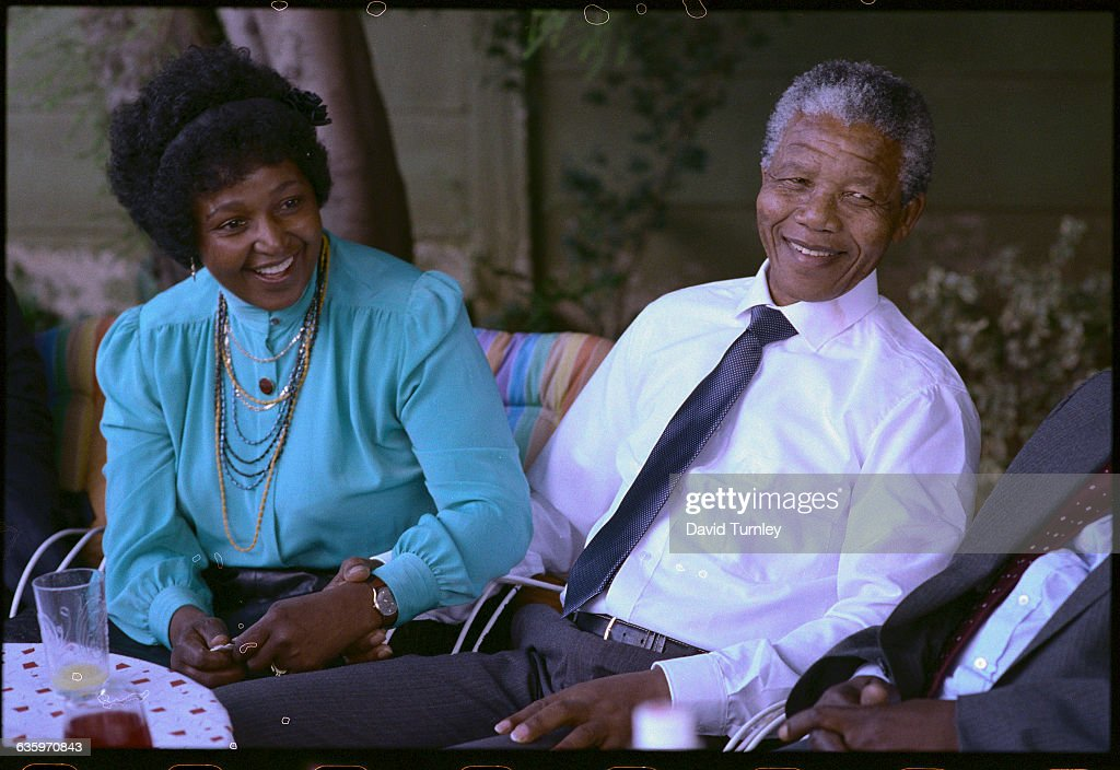 After his release from prison, anti-apartheid activist <a gi-track='captionPersonalityLinkClicked' href=/galleries/search?phrase=Nelson+Mandela&family=editorial&specificpeople=118613 ng-click='$event.stopPropagation()'>Nelson Mandela</a> is reunited with his wife, Winnie, in 1990. Mandela served 27 years in prison.