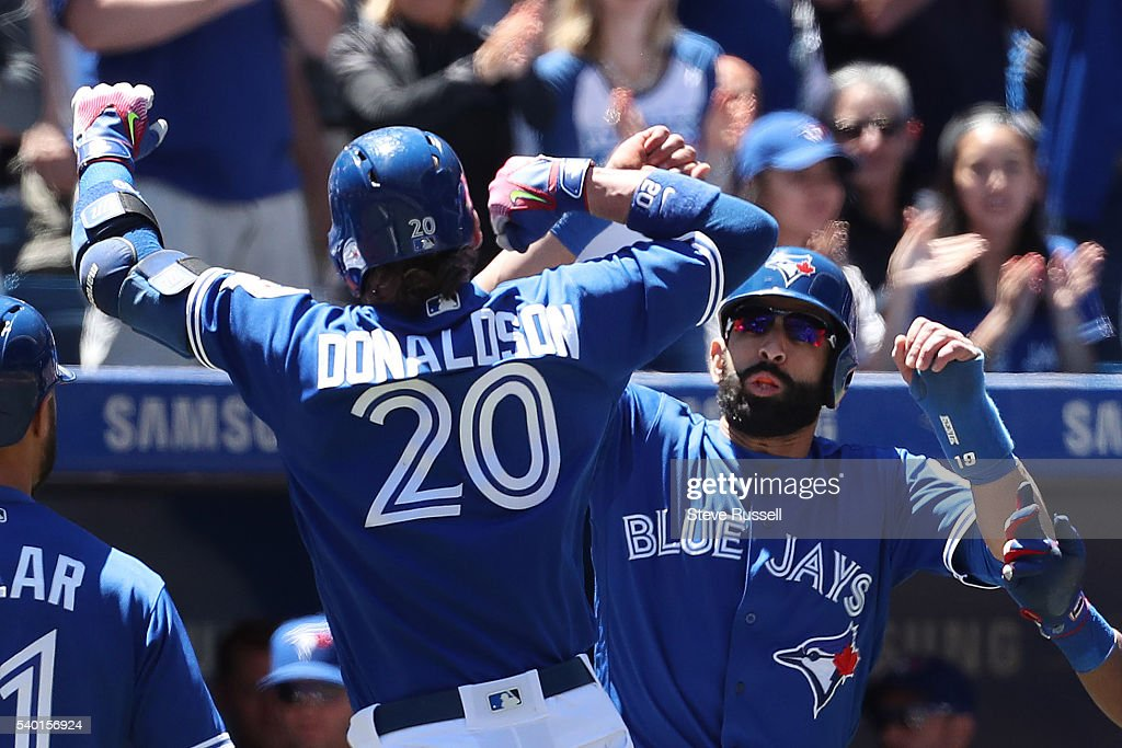TORONTO ON JUNE 14 After opening hitting doubles in the first two innings Josh Donaldson hits a grand slam in the third inning earning...