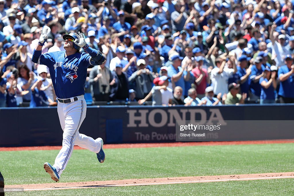 TORONTO ON JUNE 14 After opening hitting doubles in the first two innings Josh Donaldson hits a grand slam in the third inning as the Toronto Blue...