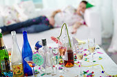 Empty bottles on party table