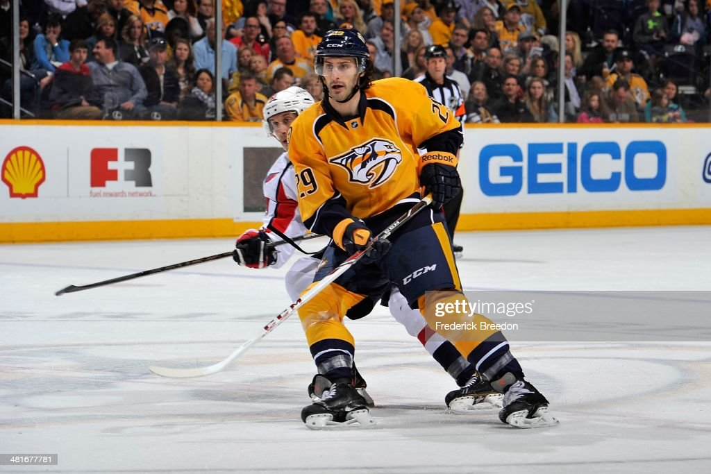 After playing 387 minor league games thirty-year old Mark Van Guilder #29 of the Nashville Predators skates in his first career NHL game against the Washington Capitals at Bridgestone Arena on March 30, 2014 in Nashville, Tennessee.