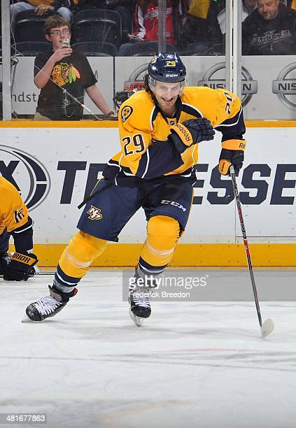 After playing 387 minor league games thirtyyear old Mark Van Guilder of the Nashville Predators skates during warm ups prior to his first career NHL...