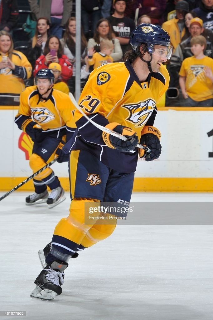 After playing 387 minor league games thirty-year old Mark Van Guilder #29 of the Nashville Predators skates during warm ups prior to his first career NHL game against the Washington Capitals at Bridgestone Arena on March 30, 2014 in Nashville, Tennessee.
