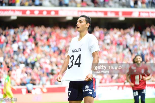 After putting his side 30 ahead Anwar El Ghazi of Lille removes his shirt to reveal a tshirt paying tribute to former Ajax team mate Abdelhak Nouri...