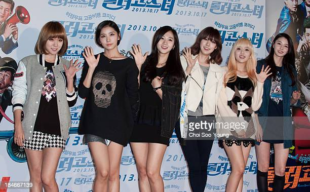 After School attend the 'Fasten Your Seatbelt' VIP press screening at Wangsimni CGV on October 14 2013 in Seoul South Korea