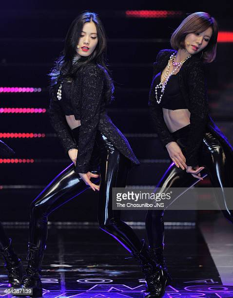 After School perform onstage during the 2014 Asia Model Festival Awards at Olympic Hall on January 17 2014 in Seoul South Korea