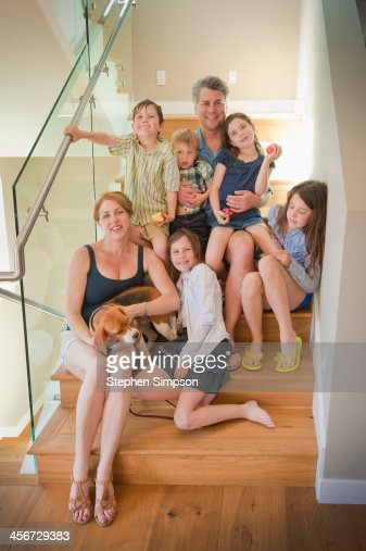 after showers, family portrait on the stairway