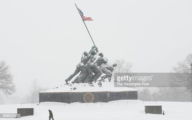 After snow shot of Marine Corp War Memorial aka Iwo Jima Memorial in Arlington VA on January 23 2016 The storm is expected to bring up to two feet in...