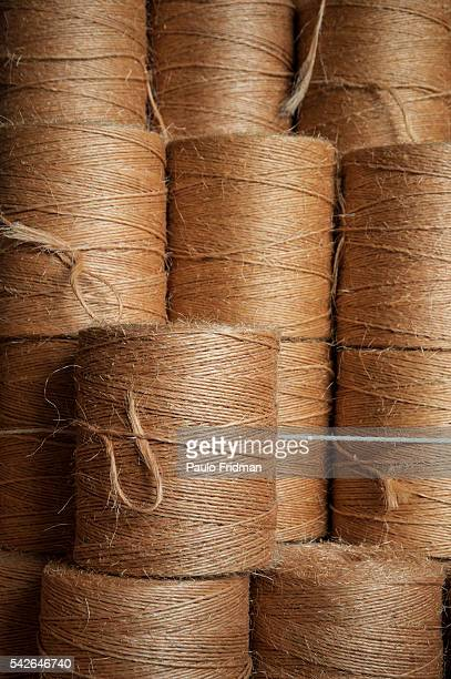 After spinned and dyed the Sisal threads are separated in rolls on August 27th in Valente Bahia Brazil