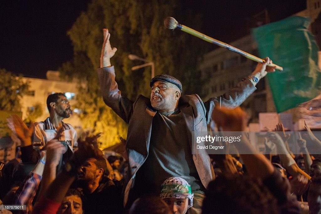 After the announcement of a ceasefire crowds gathered in the streets of Gaza to celebrate, finally converging on Shifa hospital in Gaza City, Gaza on November 21, 2012.