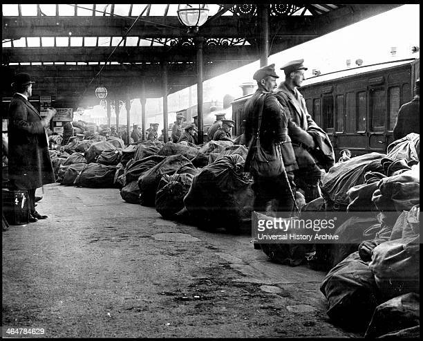 After the anti English Irish uprising in Dublin May 1916 public services were disrupted Here sacks of mail are piled up on the platform at Dublin...