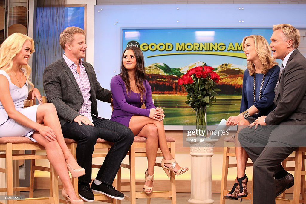 AMERICA - After 'The Bachelor' finale, Sean Lowe and his new fiancée Catherine Giudici are guests on 'Good Morning America,' 3/12/13, airing on the ABC Television Network. The announcement was also made that Lowe and Peta Murgatroyd will pair up on for the new season of 'Dancing with the Stars.' (Photo by Fred Lee/ABC via Getty Images)PETA MURGATROYD, SEAN LOWE, CATHERINE GIUDICI, LARA SPENCER, SAM CHAMPION