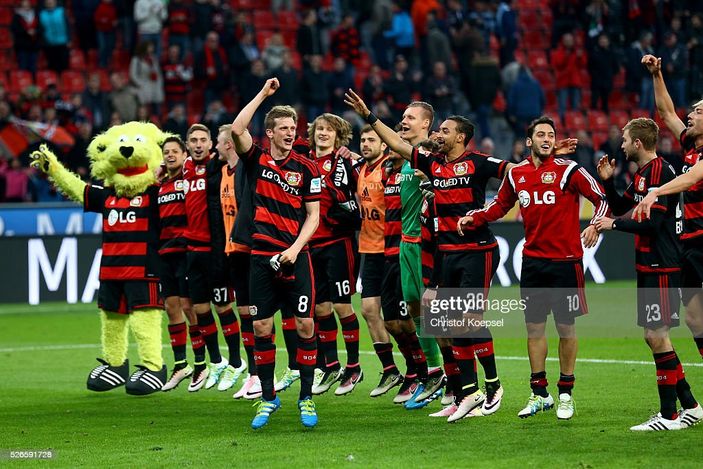 after the Bundesliga match between Bayer Leverkusen and Hertha BSC Berlin at BayArena on April 30, 2016 in Leverkusen, Germany. The match between Leverkusen and Belrin ended 2-1.