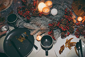 Photo of a dining table after Thanksgiving dinner; messthetics