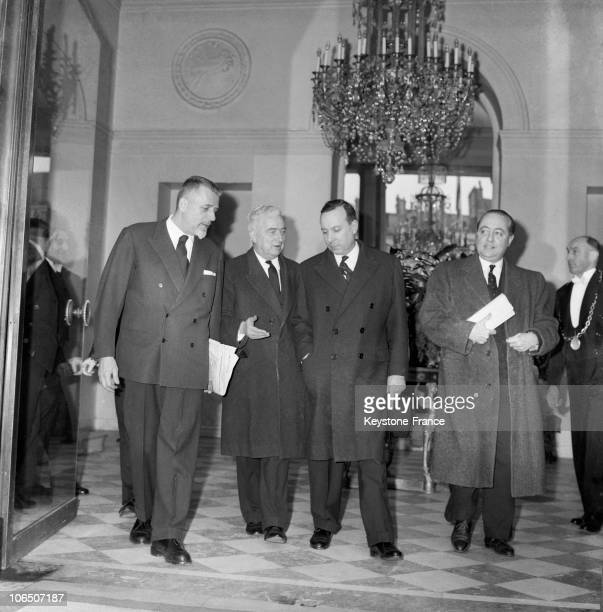 After The End Of The Negociations Between Algerian Fln And The French Government In Evian The Three Ministers Robert Buron Louis Joxe Jean De Broglie...