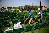 After the event of PM Modi at Rajpath college student from north campus collecting waste from the event area on October 2 2014 in New Delhi India