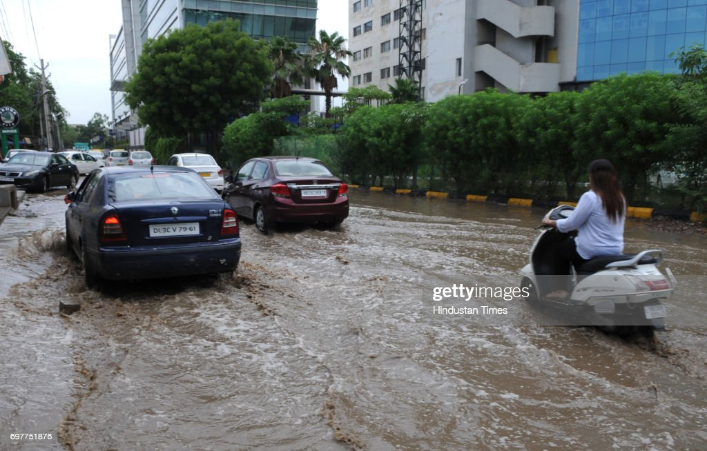 After the heavy rain, waterlogging at sector-15, on June 19, 2017 in Gurgaon, India. With just one night of rain, several internal roads and at major intersections such as Huda City Centre, Signature Tower Road, Hero Honda Chowk and Iffco Chowk were waterlogged, delaying commuters, especially officegoers.