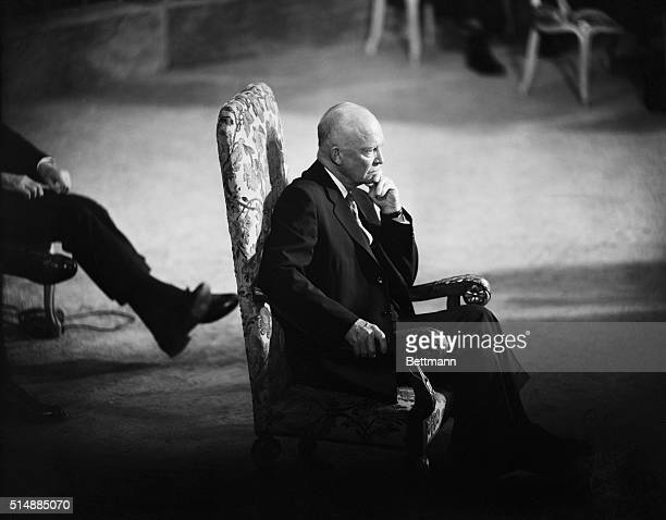 After the opening speech at a commemorative session of the United Nations President Eisenhower sits center stage listening to San Francisco's Mayor...