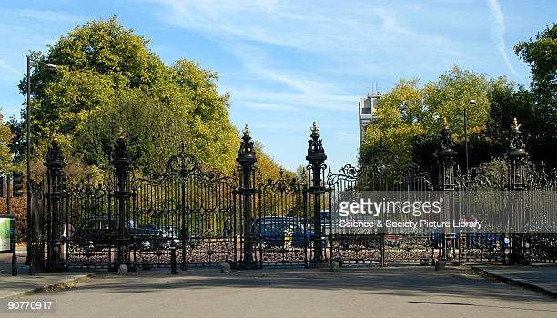 After they were exhibited at the Great Exhibition these cast iron gates were reerected at the entrance to Kensington Gardens London where they remain...