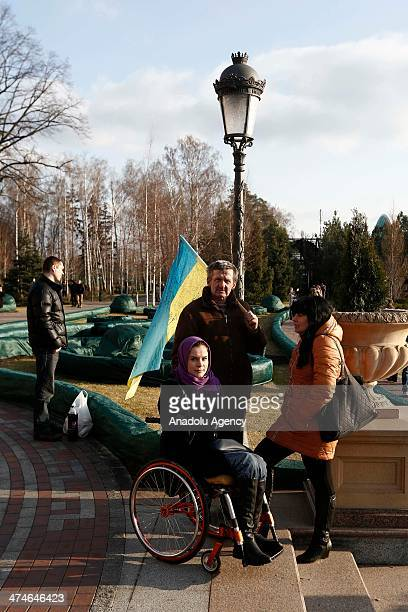 After Viktor Yanukovych's leaving the capital Kiev the campus containing Yanukovych's residence put under protection by anti government protestors...