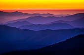 The view from Clingman's Dome in the Great Smoky Mountains National Park just after the sun went down.