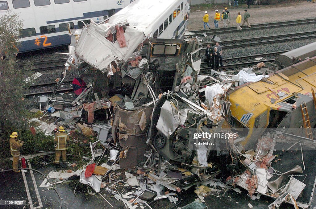 Aftermath at the Metrolink train wreck caused by a suicidal individual which killed at least 10 people in Glendale, California on January 26, 2005 in Glendale, California.